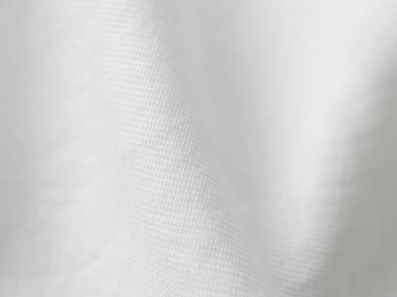 80/1綿麻ピンチェックドビー 5分袖フレアーチュニック P82147  prit