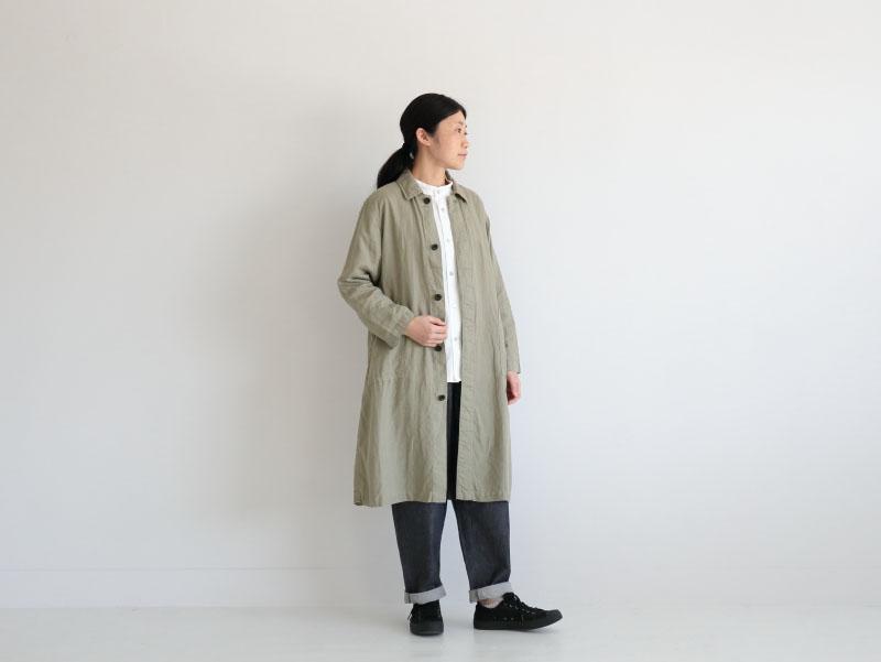 60/1リネン平織 比翼コート R21101 RINEN women