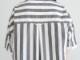 綿麻タイプライターストライプ 5分袖スタンドカラークレリックプルオーバーワイドシャツP82152  prit