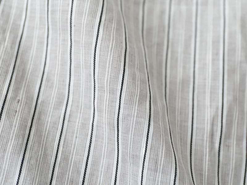 コットンリネンバレストライプ 7分袖スタンドカラーシャツP82155  prit