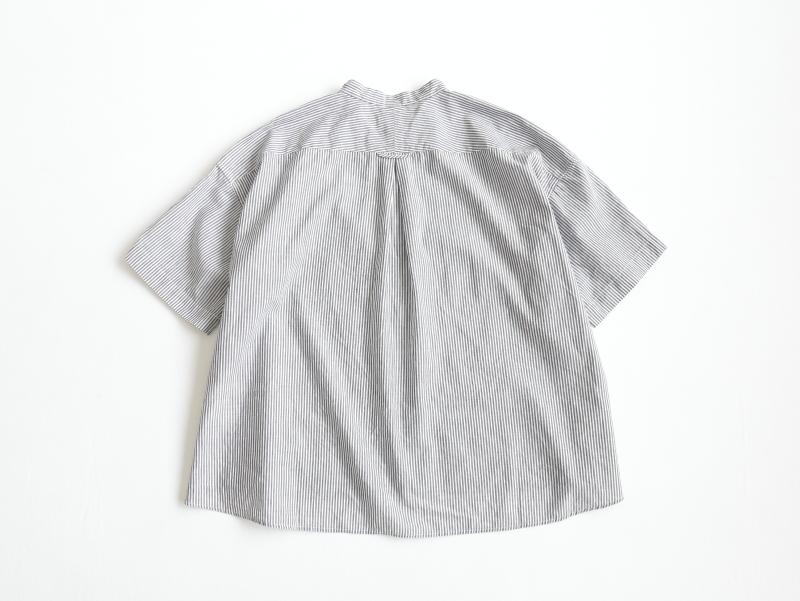 コットンリネンバレストライプ 5分袖スタンドカラーワイドシャツP82156  prit