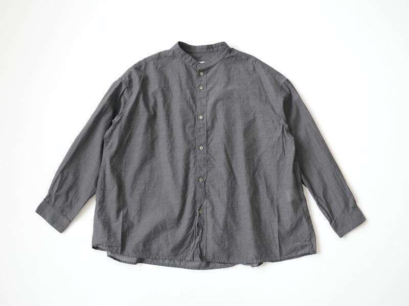 80/1ローン 長袖スタンドカラーAラインワイドシャツP82157  prit