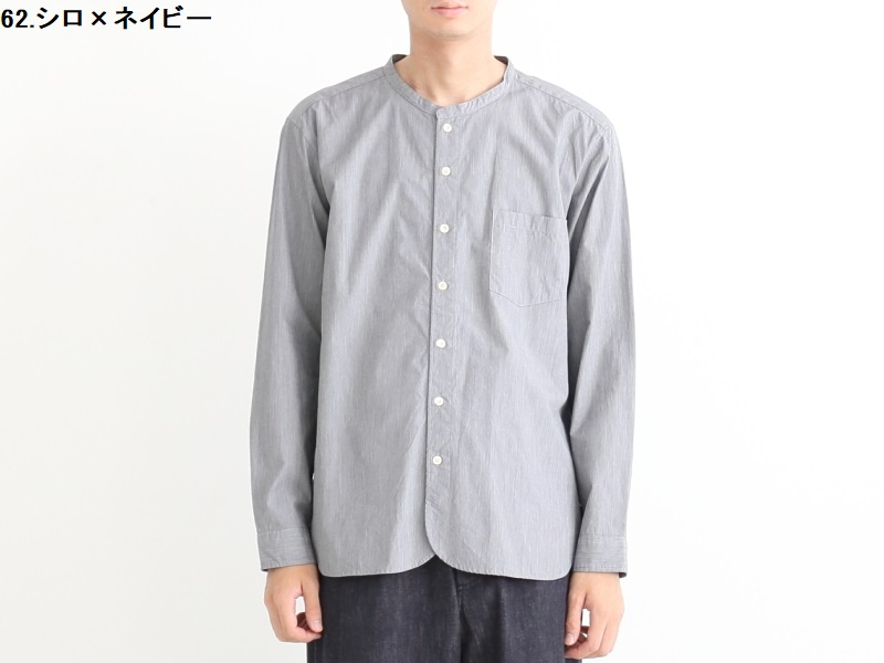 100/2ブロード ヘアライン バンドカラーシャツ 38013 TEIBAN men