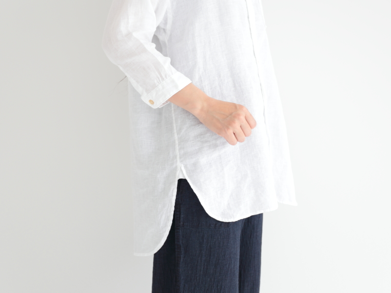 21/1フレンチリネン 7分袖バンドカラーチュニックシャツ P82164  prit