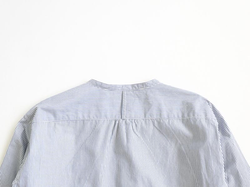 100/2ブロード ストライプ バンドカラーシャツ 38013 TEIBAN men