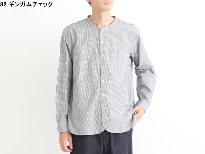 100/2ブロード ギンガムチェック バンドカラーシャツ 38013 TEIBAN men