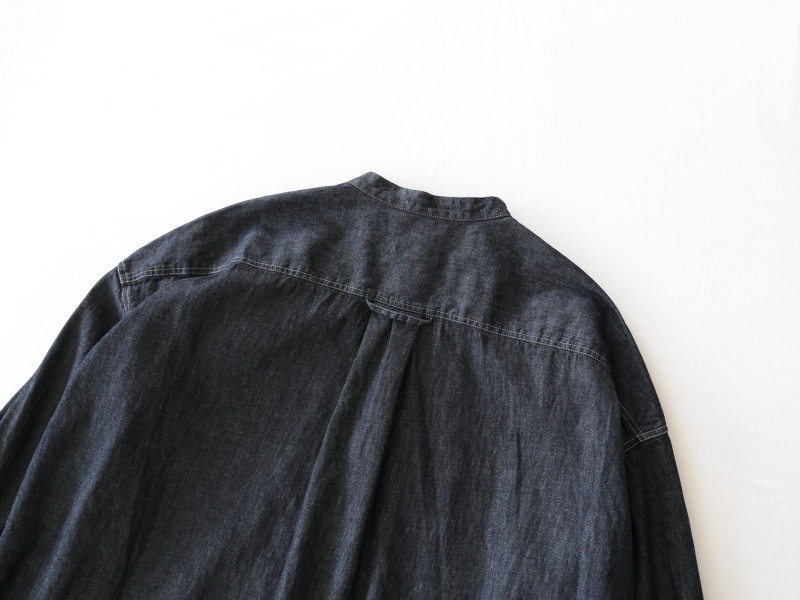6ozデニム スタンドカラーワイドシャツワンピース P81142  prit
