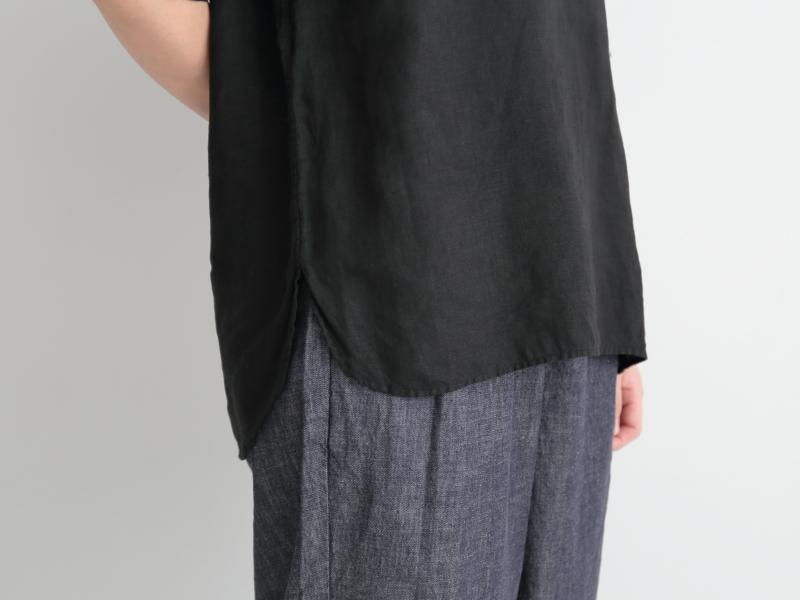 60/1リネンローン 半袖比翼バンドカラーシャツ R31106 RINEN women