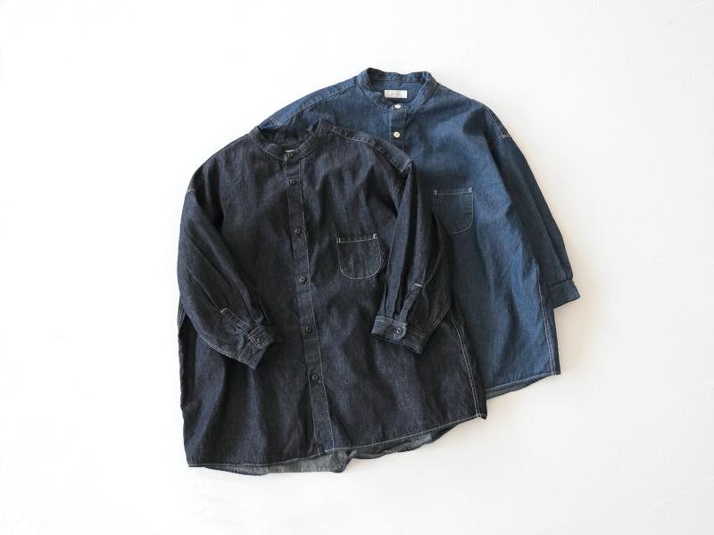 6ozデニム 7分袖スタンドカラーシャツ P81143  prit
