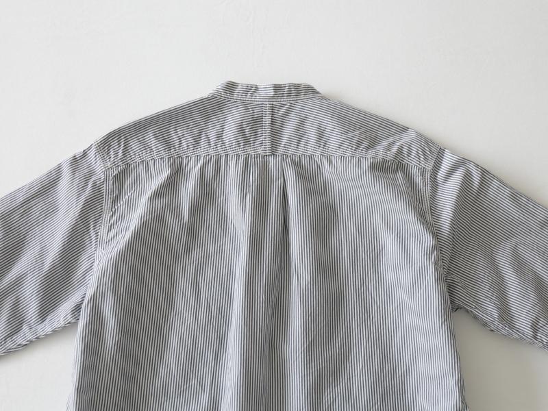 80/2ダウンプルーフ ストライプ スタンドカラーシャツ  38001 TEIBAN men