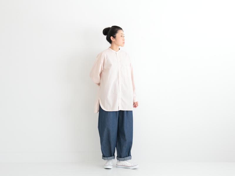 80/1タイプライター スタンドカラーオーバーサイズシャツ P81155  prit
