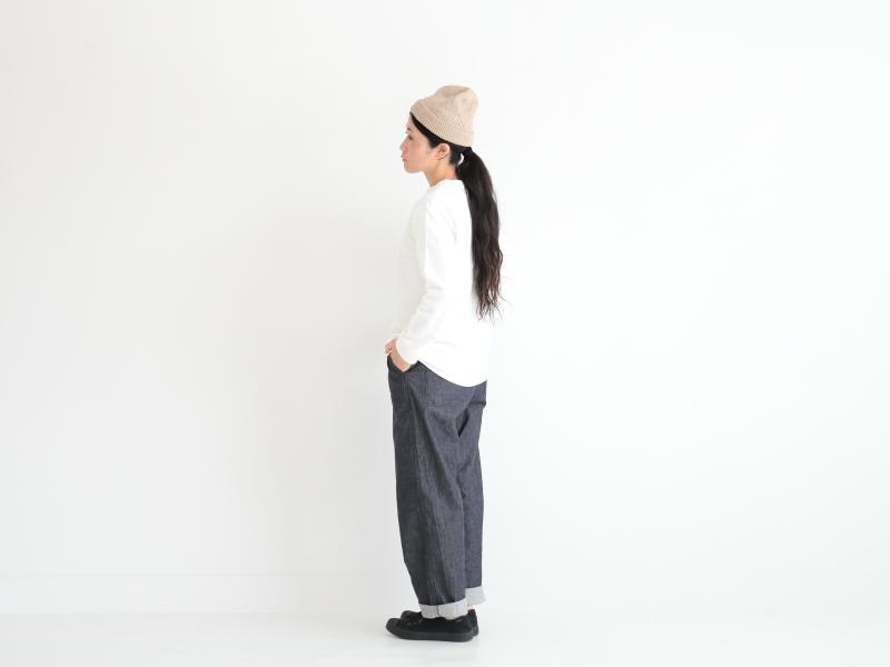 2/24リネンアゼ編み(ホールガーメント) ニット帽 R51104 RINEN