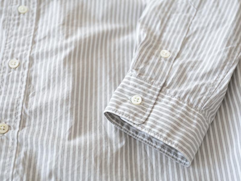 60/1タイプライターストライプ スタンドカラーオーバーサイズシャツ P81159  prit