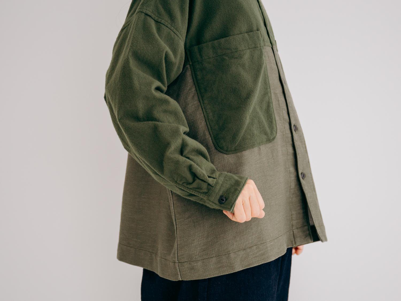ネル×ドビーネル 切替スタンドカラーポケットワイドシャツ P80242 prit