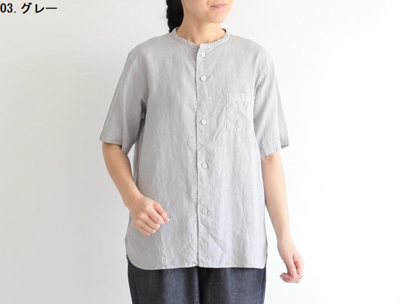 60/1リネン平織 半袖バンドカラーシャツ R31109 RINEN women