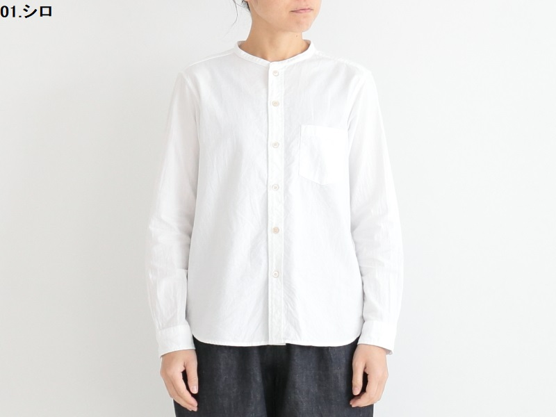 40/1オーガニックオックス バンドカラーシャツ 36022 TEIBAN women