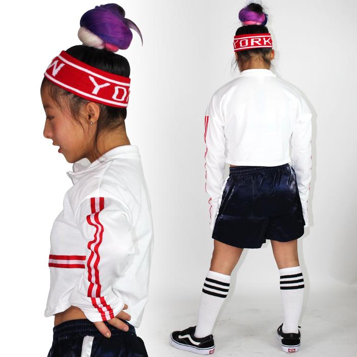 長袖 ショート丈  シャツ ロンT ファスナー ジップ スポーツウェア キッズ 女の子 男の子 ユニセックス ブラック/ホワイト Mサイズ/Lサイズ (130cm/140cm/150cm/160cm) ダンサー