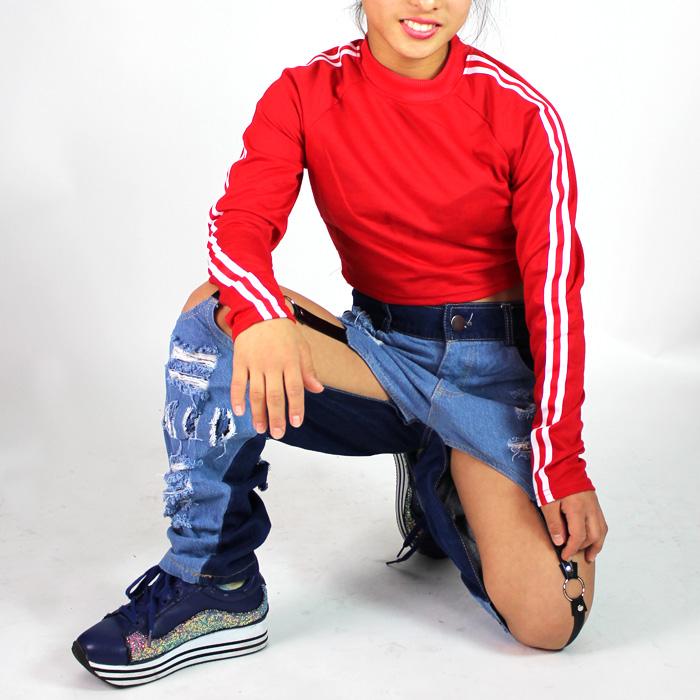 長袖 ショート丈 ラグラン  Tシャツ キッズ 女の子 ブラック/レッド Mサイズ/Lサイズ (130cm/140cm/150cm/160cm) ダンサー