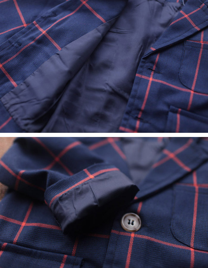 OUT LET 男の子 スーツ 3点セット 格子柄チェック ブルー/グレー 80cm 90cm 100cm 110cm 120cm  ネコポス配送(275円)可能