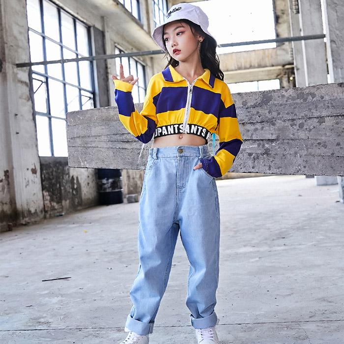 取寄せ納期約2〜3週間 送料無料 上下2点セット 長袖シャツ・デニムパンツセット ラガーシャツ セットアップ ボーダー ショート丈 シャツ ジャケット ジーンズ ボトムス ダンス衣装 キッズダンス 子供 ダンス衣装 ヒップホップ 衣装 HIPHOP dance kids