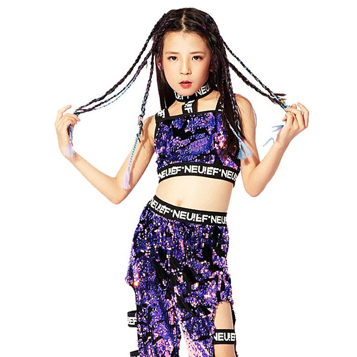 営業日は正午まで当日発送 送料無料 スパンコール 上下 2点セット タンクトップ パンツ 女の子 子供 パープル 110cm〜160cm 3サイズ ヒップホップ ダンス 衣装