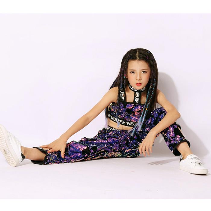うちの子が一番 スパンコール 上下 2点セット タンクトップ パンツ 女の子 子供 パープル 110cm〜160cm 3サイズ ヒップホップ ダンス 衣装