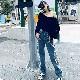 取寄せ納期約7〜14日 クラッシュジーンズ ダメージ加工 デニムパンツ 汚し加工 ジーンズ おしゃれ 個性的 カジュアル アメカジ クラッシュ 古着 ジーンズ デニム ヒップホップ ダンス 衣装 女の子 レディス ガールズ ジュニア GIRLS HIPHOP