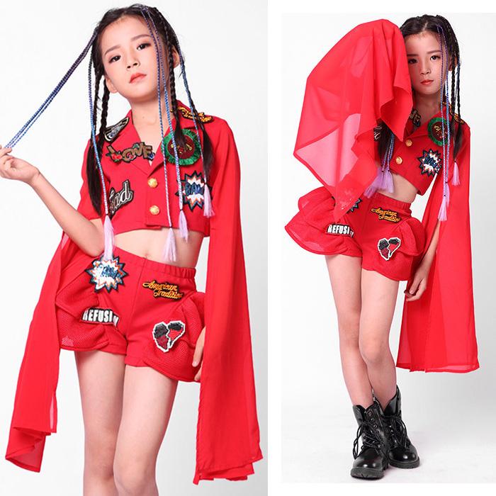 営業日は正午まで当日発送 送料無料 ジャケット ショートパンツ 上下 2点セット ワッペン メッシュ フリル 袖 メッシュアームウォーマー 女の子 子供 レッド 110cm〜160cm 3サイズ ヒップホップ ダンス 衣装