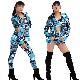 送料無料 上下3点セット ジャケット・チューブトップ・パンツ 上下3点セット 女の子 子供 ブルー 110cm〜170cm 4サイズ 英字 総柄 レギンス ショートパンツ ブルマ ホットパンツ 長袖 上着 ヒップホップ ダンス 衣装