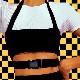 営業日は正午まで当日発送 ホルターネック チューブトップ タンクトップ バックル ヒップホップ 女の子 ブラック/レッド キッズ〜大人 2サイズ(130cm〜大人) ネコポス配送(275円)可能