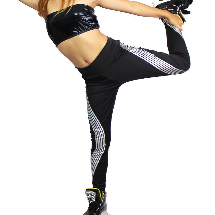 営業日は正午まで当日発送 レギンス パンツ ロング ボトムス スパッツ うちの子が一番 オーロラ波柄プリント レギンス キッズ女の子 ブラック フリーサイズ ダンサー  HIPHOP ダンス キッズダンス 衣装 練習着 ネコポス配送(275円)可能
