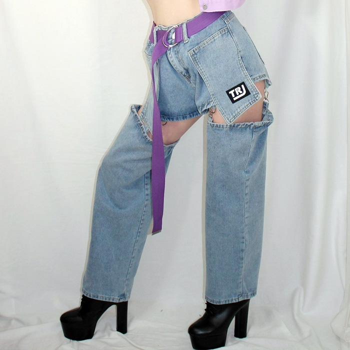 2WAY デニムパンツ ジーンズ ロングパンツからショートパンツに早着替えできる! おしゃれ 個性的 カジュアル ストレート 脚長効果 アメカジ クラッシュ ホットパンツ デニム ヒップホップ ダンス 衣装 女の子 レディス ガールズ ジュニア ヒップホップ GIRLS HIPHOP