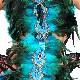営業日は正午まで当日発送 送料無料 上下セット オールインワン 羽根 羽 水着型 女の子 ブルー/グリーン キッズ〜大人 フリーサイズ ヒップホップ ダンス 衣装 舞台衣装 クジャク