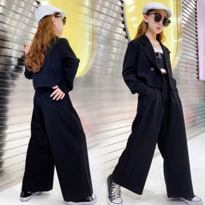 女の子 パンツスーツ 上下2点セット ジャケットとパンツセット ワイドパンツ ブラックスーツ かっこいい おしゃれ セットアップ 無地 ロングパンツ ブラック ダンス衣装 キッズダンス 子供 ダンスウェア ヒップホップ 女の子 ジュニア