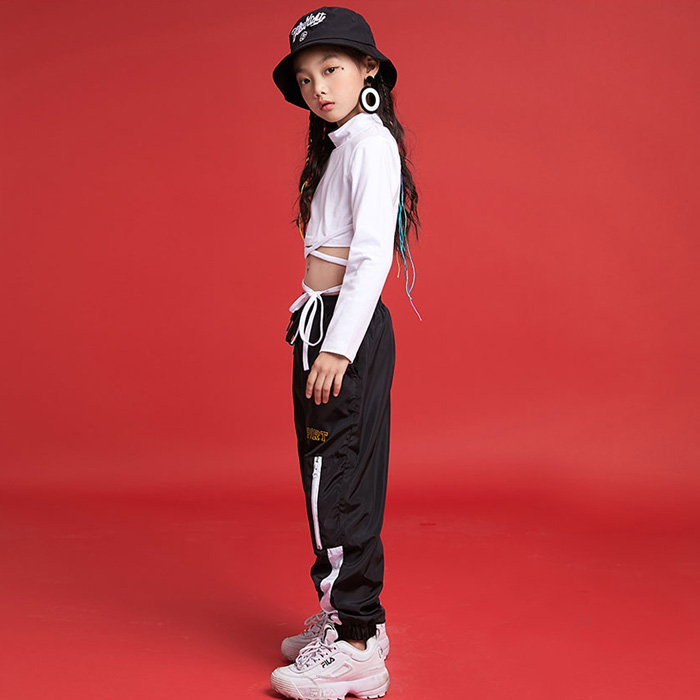 営業日は正午まで当日発送 ジップ ジョガー パンツ ジャージ ボトムス ヒップホップ 女の子 男の子 ユニセックス ブラック S-XL(110〜180cm)キッズ 子供 ヒップホップ ダンス 衣装 ネコポス配送(275円)可能