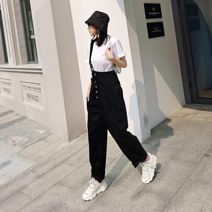 取寄せ納期約7〜14日 パンツ ダボパン ブラック/ホワイト ハイウェスト 肩ベルト ダンスパンツ おしゃれ 個性的 ボトムス ロングパンツ カジュアル アメカジ セクシー ヒップホップ ダンス 衣装 女の子 レディス ガールズ ジュニア GIRLS HIPHOP