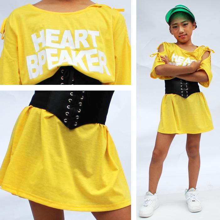 【訳あり】 アウトレット 半そで シャツ ワンピース Tシャツ 肩ひも 半袖 ロング丈 ダンサー キッズ ダンス 衣装 HIPHOP 子供 ヒップホップ