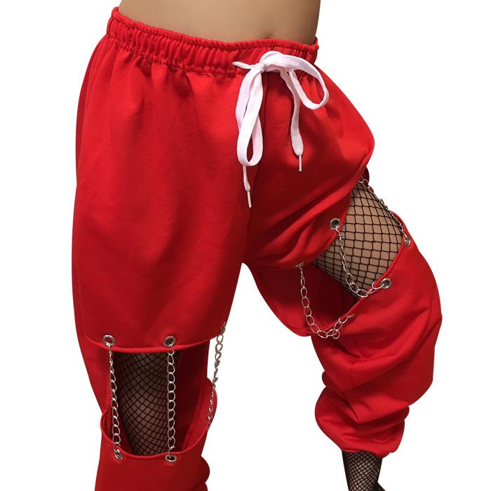 お仕立て納期約7日 チェーンアレンジ カラーパンツ 9カラー ダンスパンツ ダンサーに人気デザイン 穴あき カット ヒップホップ ダンス 衣装 スウェット キッズ ジュニア ダンス衣装 ジャージ ガールズ 女の子 レディース 夏フェス 野外イベント
