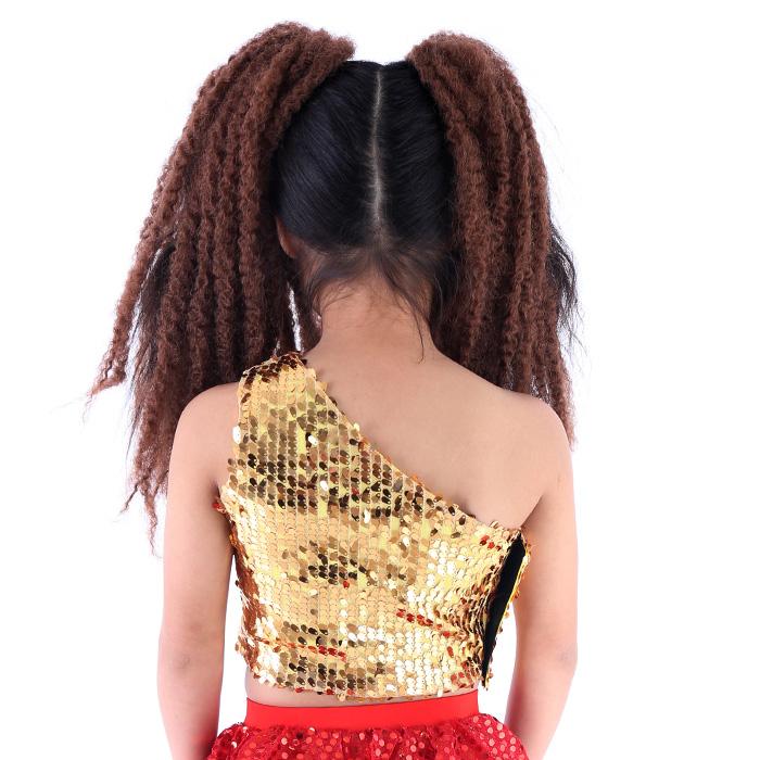 【訳あり】OUTLET アウトレット スパンコール ワンショルダー タンクトップ スパンコール ダンス衣装 ダンス 衣装 ヒップホップ ダンス衣装 衣装 キッズダンス 子供 ダンス 衣装 キッズヒップホップ 衣装