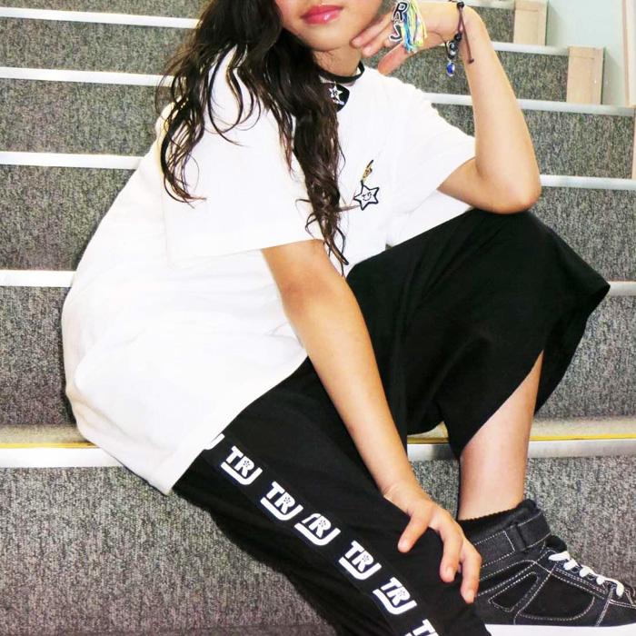 ハーフパンツ バスパン サイドテープロゴ S〜XL 4サイズ ブラック 無地 ジュニア バスケットパンツ ダンス衣装 スター 半袖シャツ 部屋着 ダンス衣装 ダンスウェア 夏フェス ヒップホップ パンツ ボトム ガールズ 女の子 男の子 レディス 子供 子ども