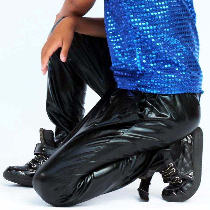 取寄せ納期約3〜4週間 ジョッパーパンツ サルエルパンツ フェイクレザー パンツ ヒップホップ ダンス衣装 ダンス スウェット ダンスパンツ キッズ ダンス 衣装 ジュニア 子供 売れ筋 hiphop ネコポス配送(275円)可能