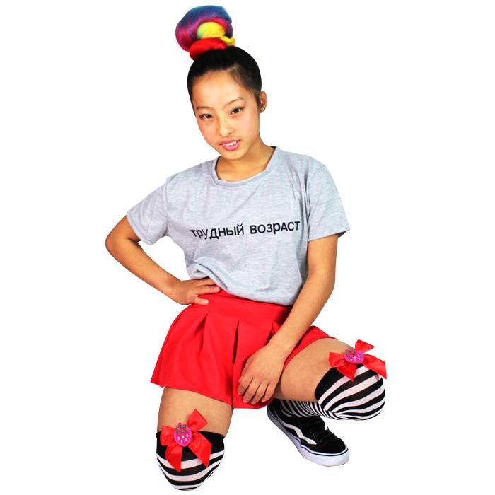 営業日は正午まで当日発送 イチゴリボン ボーダー ニーハイ ソックス キッズ 女の子  ブラック/レッド/グリーン フリーサイズ キッズ〜大人 子供 ダンス衣装 ヒップホップ HIPHOP ネコポス配送(275円)可能
