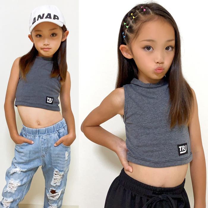 キッズ向け ハイネック タンクトップ ノースリーブ 無地 チューブトップ キッズ インナー ジュニア Tシャツ ワンポイント 3カラー ブラック/ホワイト/グレー スポカジ 野外スポーツ ヒップホップ ダンス衣装 hiphop ガールズ 女の子 子供 夏フェス