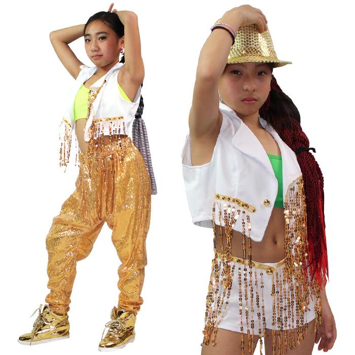【訳あり】OUTLET アウトレット ベスト ゴールド スパンコール アームウォーマー付き キッズダンス衣装 ヒップホップ 発表会 舞台衣装 上着 ジャケット ベスト シャツ スパンコール ヒップホップ ホワイト ダンサー