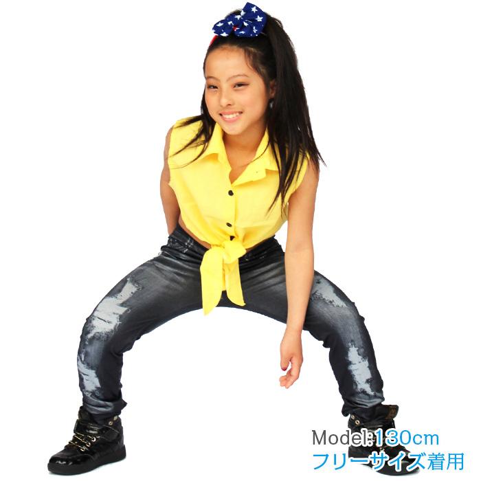 【訳あり】OUTLET アウトレット ノースリーブシャツ ダンス 衣装 キッズ 裾リボン シャツ ダンス衣装 ヒップホップ ダンス衣装 衣装 キッズダンス 子供 ダンス 衣装 キッズヒップホップ 衣装 スパンコール 衣装 ワイシャツ カッターシャツ