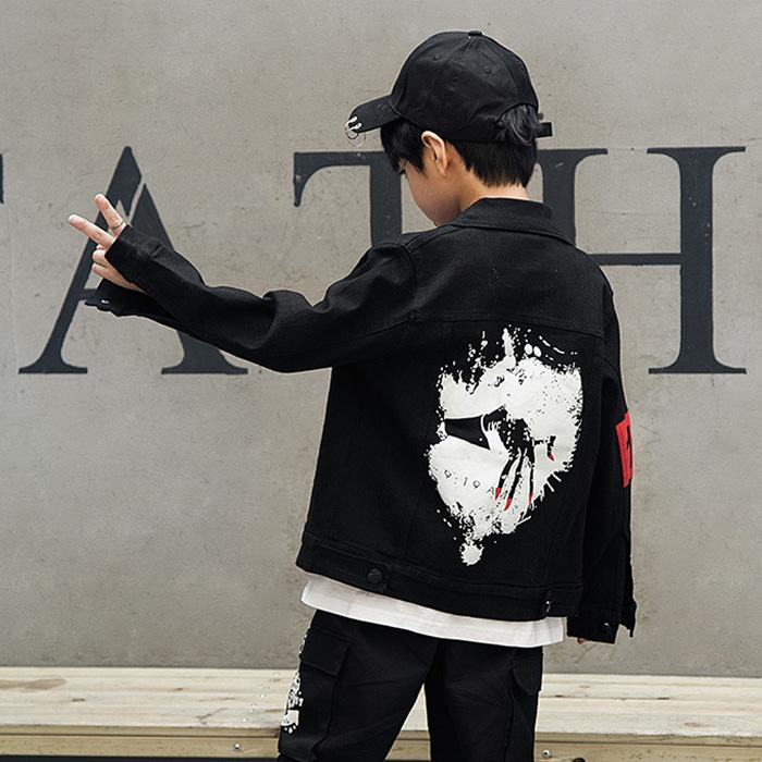 アウトレット デニム ジャケット キッズ ジージャン 黒 ブラック ロック キッズ ダンス ヒップホップ キッズ 男の子 女の子 レディス ジュニア ボーイズ