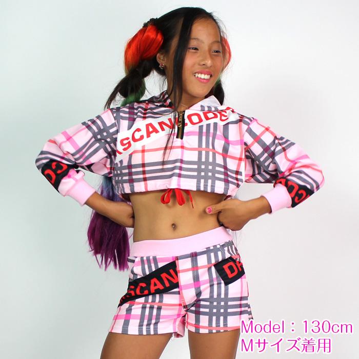 営業日は正午まで当日発送 上下 セットアップ パーカーとパンツの2点セット ショートパンツ ジャージ チェック 長袖 ピンク キッズダンス 子供 ダンス 衣装 ガールズ ヒップホップ 衣装 女の子 発表会 HIPHOP イベント衣装 dance kids ダンサー