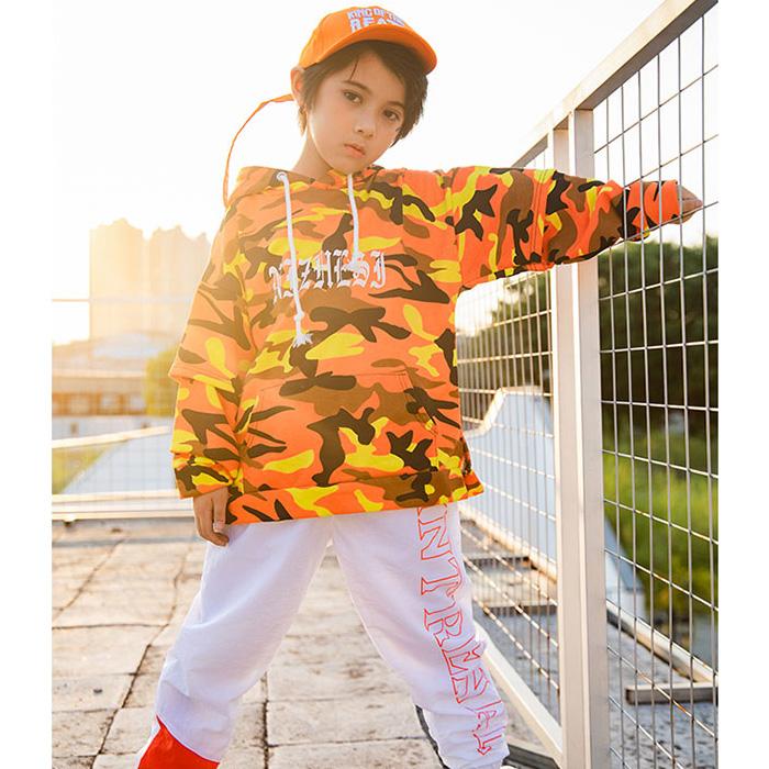 【訳あり】OUTLET アウトレット うちの子が一番 迷彩 パーカー トレーナー 女の子 男の子 キッズ オレンジ カモフラ S-XL 110cm/120cm/130cm/140cm/150cm/160cm/170cm/180cm ヒップホップ ダンス