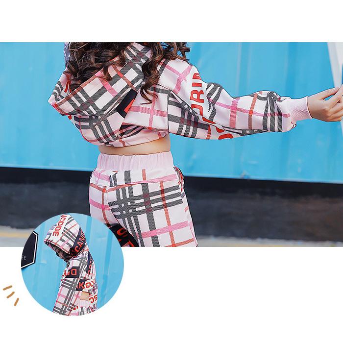 【訳あり】OUTLET アウトレット 上下 セットアップ パーカーとパンツの2点セット ショートパンツ ジャージ チェック 長袖 ピンク キッズダンス 子供 ダンス 衣装 ガールズ ヒップホップ 衣装 女の子 発表会 HIPHOP イベント衣装 dance kids
