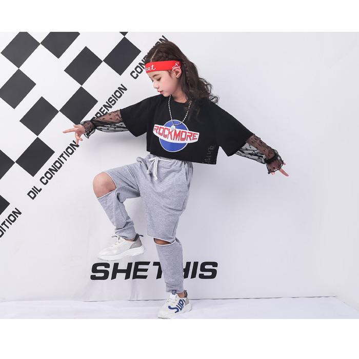 送料無料 上下2点セット シャツとパンツセット 子供服 セットアップ ダメージパンツ レース 半そで 半袖 Tシャツ ボトムス ジャージ スウェット ブラック グレー キッズダンス 子供 ダンス衣装 HIPHOP dance kids